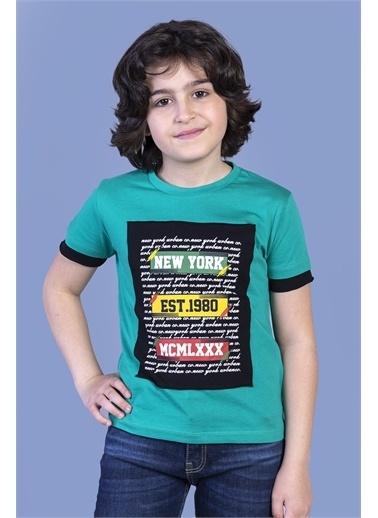 Toontoy Kids Toontoy Erkek Çocuk Kolları Garni Detaylı Yazı Baskılı Tişört Yeşil